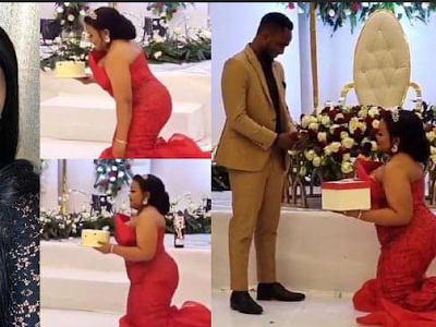 """I'm never kneeling down for a man all in the name of marriage"""" — Nigerian lady says in reaction to a viral wedding video"""