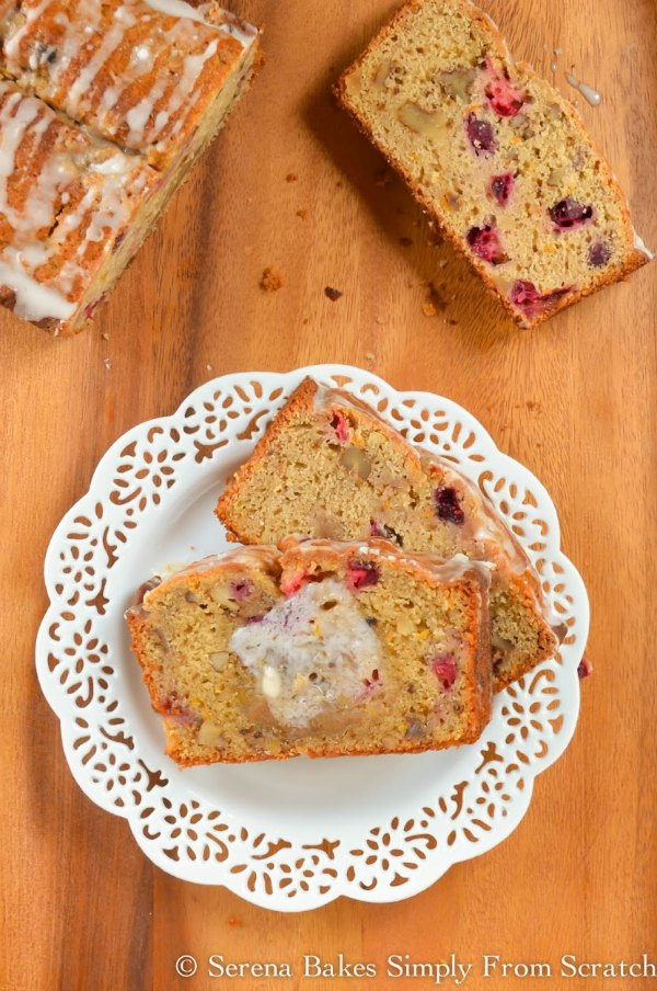 Orange Cranberry Bread recipe with brown sugar crumb is a favorite recipe for breakfast, brunch, or dessert from Serena Bakes Simply From Scratch.