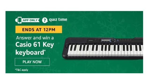 Amazon Quiz Answers Today 2 January win - Casio 61 Key Keyboard