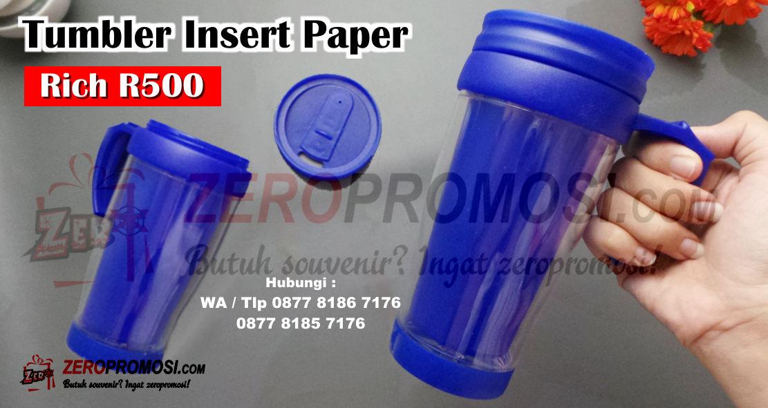 Souvenir Tumbler Insert Paper, tumbler Rich R500 Custom Cetak Logo, botol minum Tumbler Insert Paper merk RICH R500