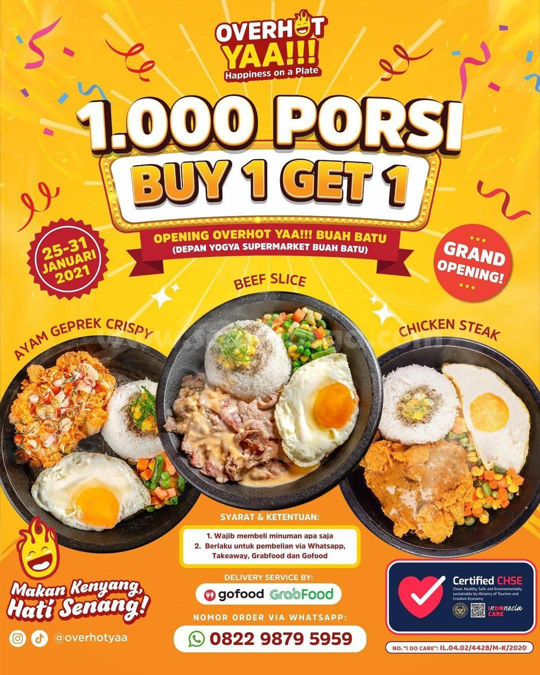 OVERHOT YAA Buah Batu Promo Opening 1.000 Porsi Buy 1 Get 1