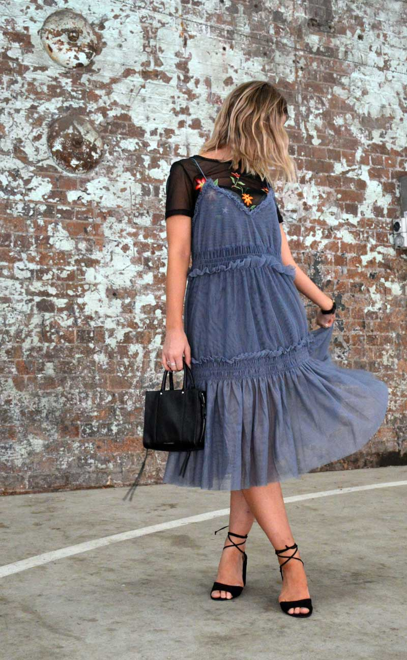 MBFWA fashion week street style ruffle dress over floral embroidered t shirt with rebecca minkoff bag and prada cinema sunglasses