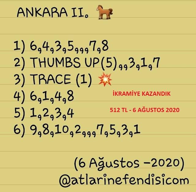 İkramiye Kazandık-6 Ağustos 2020 Ankara 6'lısı -512 TL