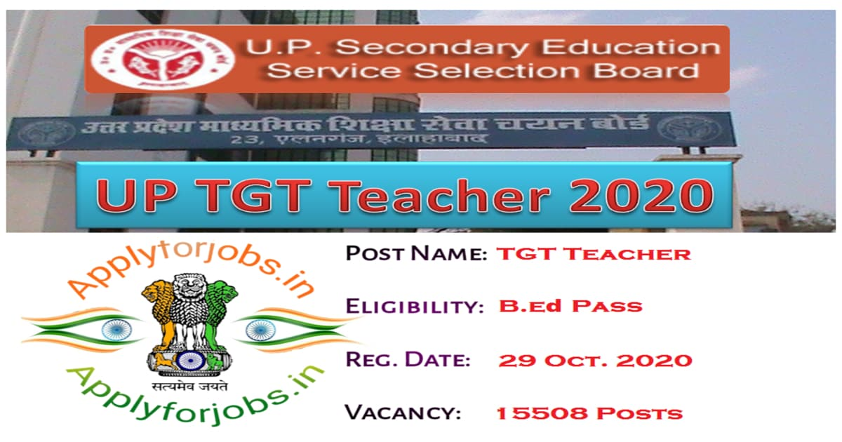 UP TGT Teacher Recruitment 2020, applyforjobs.in