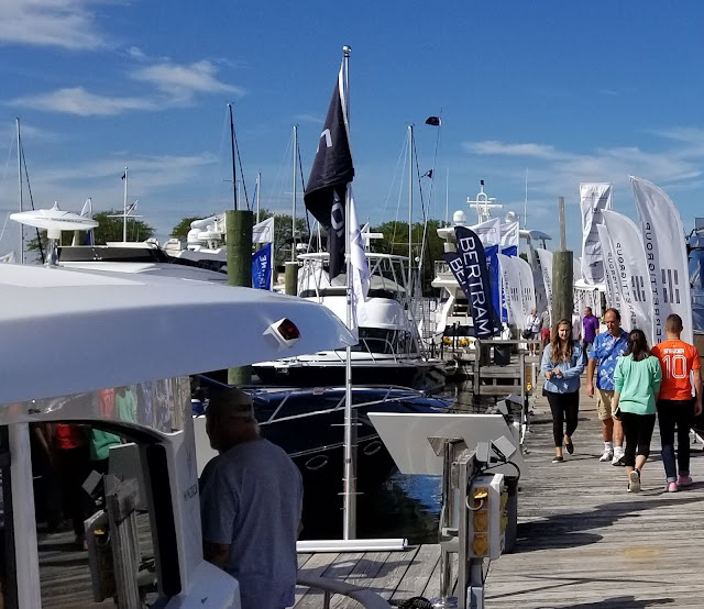 boats docked at norwalk boat show