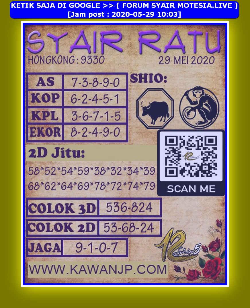 Kode syair Hongkong Jumat 29 Mei 2020 122