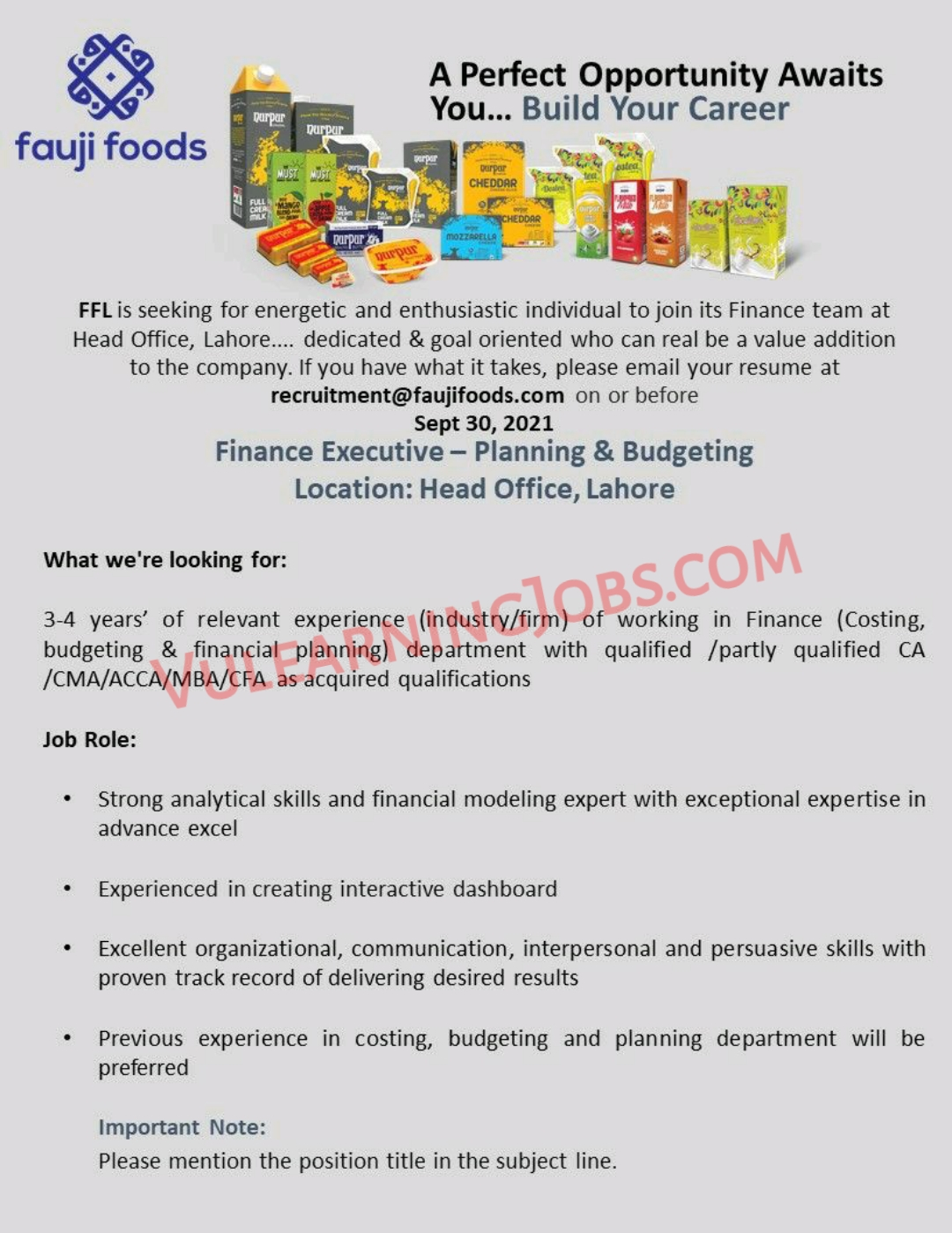 Fauji Foods Limited Jobs September 2021 For IT Intern & Finance Executive Latest