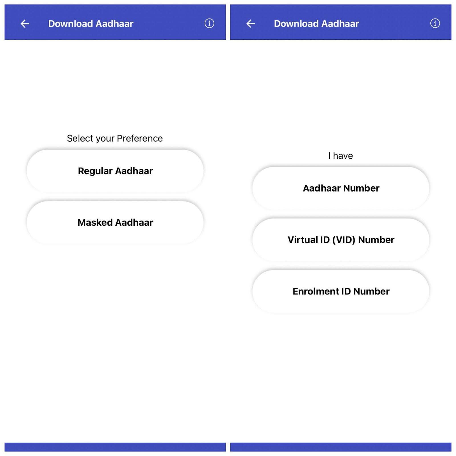 Choose between regular or masked e-aadhaar