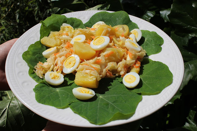 Organically raised quail egg salad