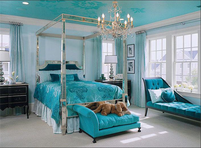 Landhausstil Schlafzimmer Blau Design Mit Gespiegeltes Himmelbett Rahmen