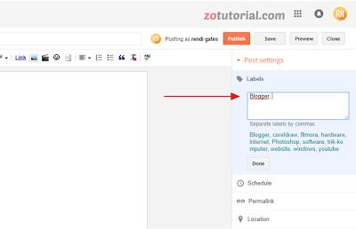 Cara menambahkan label pada postingan blogger