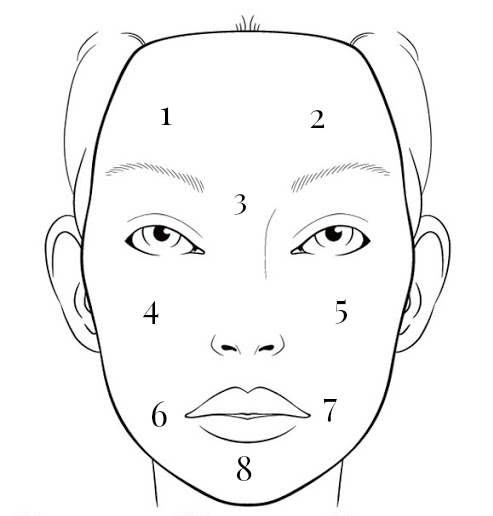 Spots Face Mapping Skincare Drawing