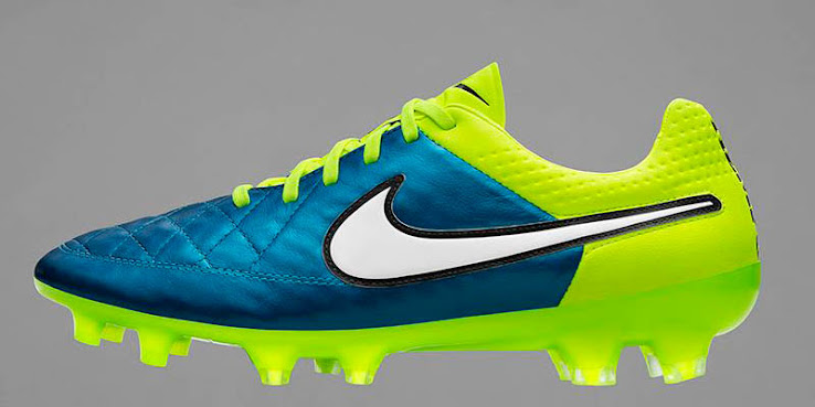 The Blue Lagoon   Volt Nike Tiempo Legend V 2015 Women s Football Boot  features a half-and-half design. 938ff4c8c6