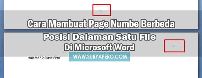 cara membuat page number berbeda