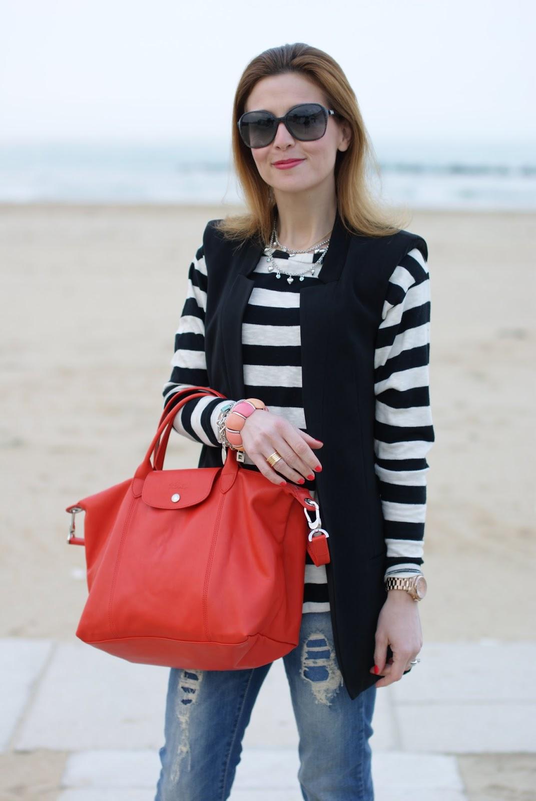 Longchamp Bag Boyfriend Jeans And Stripes Fashion And