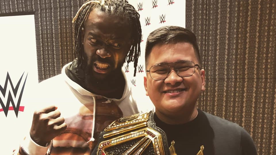 PBA sportscaster journalist Carlo Pamintuan with WWE Champion Kofi Kingston