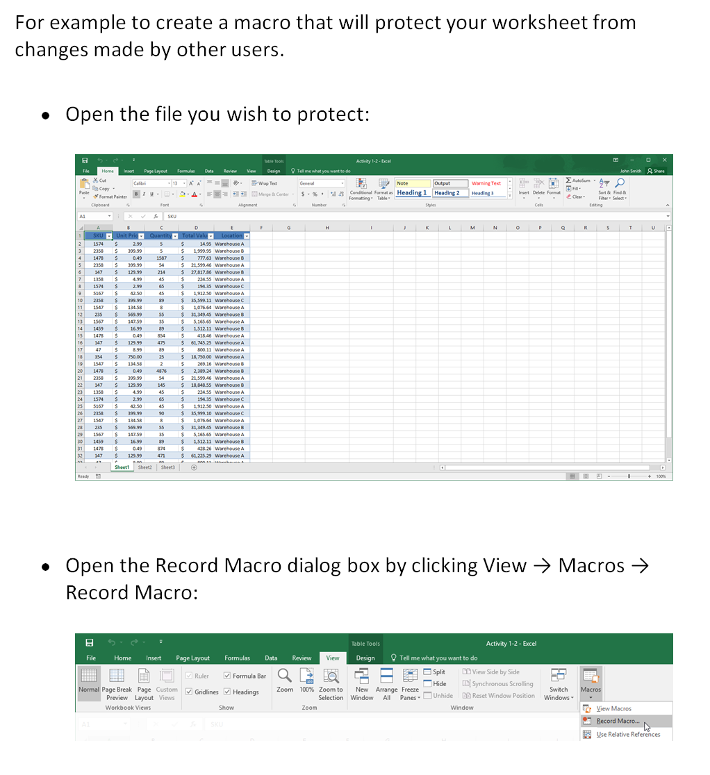 Mouse Training London Ltd Microsoft Excel Creating Macros Part 3