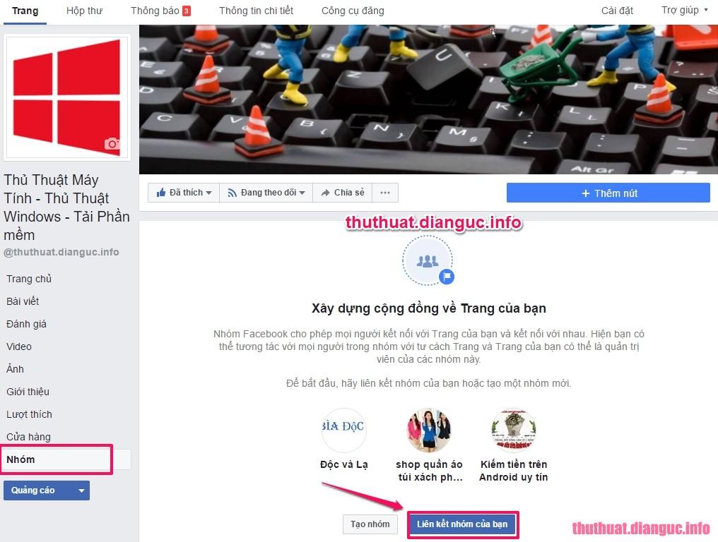 liên kết Fanpage với Group