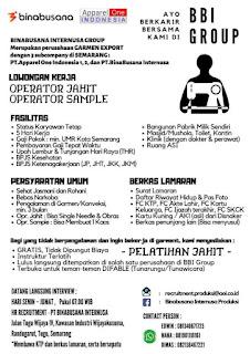 Lowongan Kerja PT Bina Busana Internusa Tahun 2021 BBI Semarang