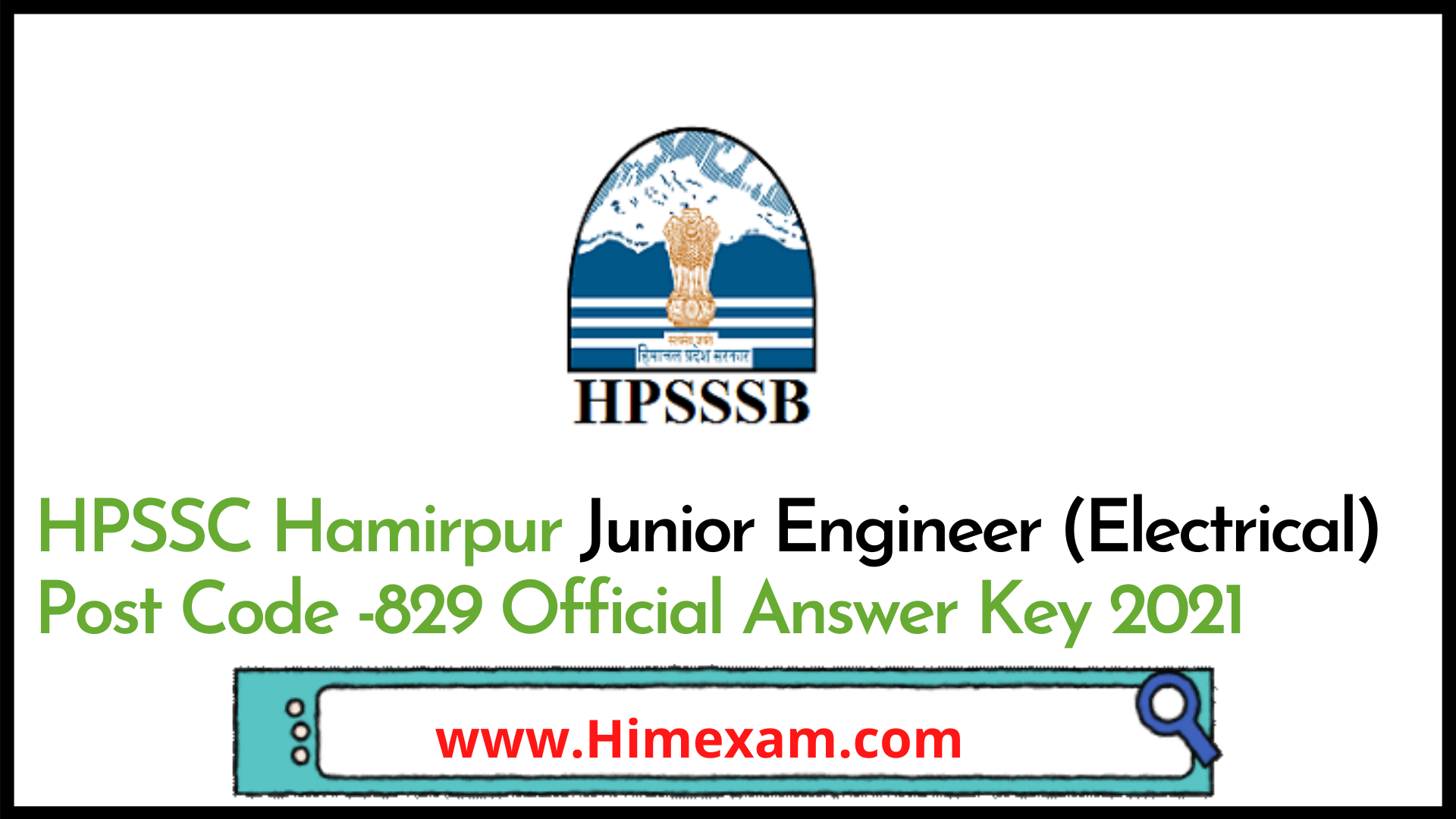 HPSSC Hamirpur Junior Engineer (Electrical) Post Code -829 Official Answer Key 2021