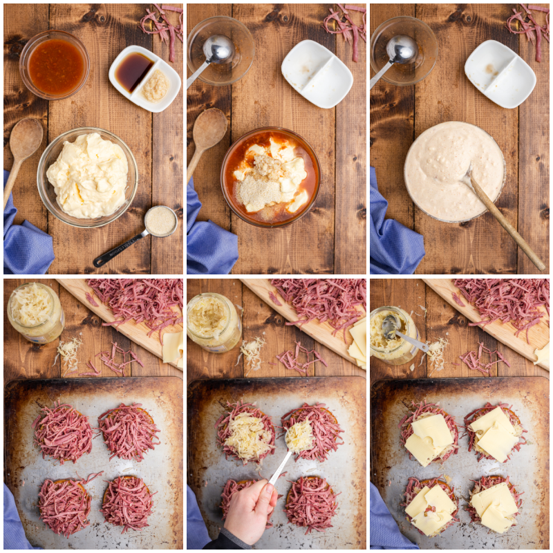 Six photos of the process of making Keto Reuben Sliders.