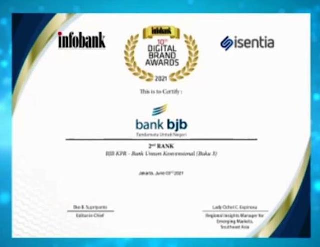 Ekspansi bjb KPR, bank bjb Raih Digital Brand Award 2021