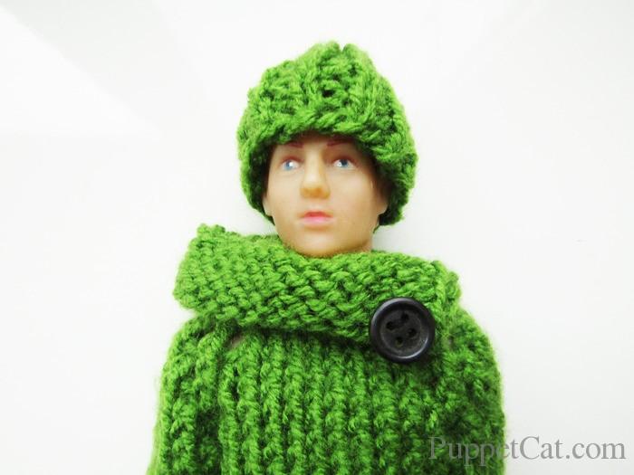 Вязанные свитер и шапка для Кена