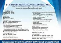 Loker YMMA PT Yamaha Music Manufacturing Asia Terbaru 2020