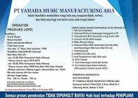 Loker YMMA PT Yamaha Music Manufacturing Asia Terbaru 2021
