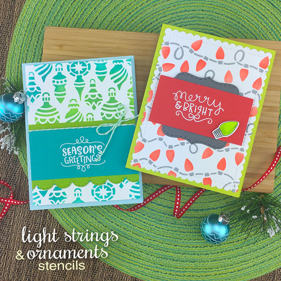 Light Strings Stencil and Ornament Stencil Set | Holiday Stencils by Newton's Nook Designs #newtonsnook