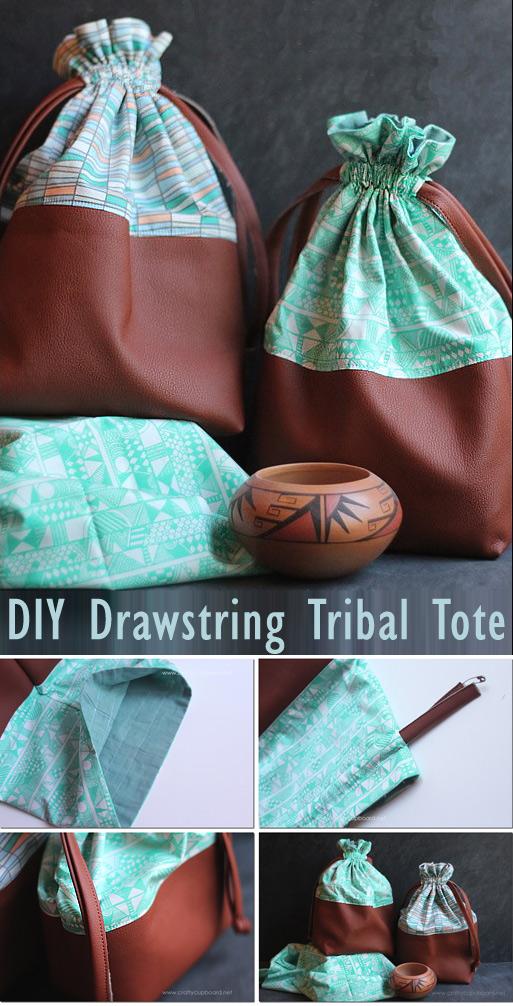 Drawstring Tribal Totes Tutorial
