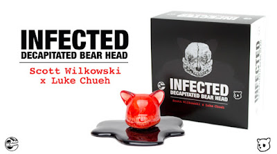 Blood Red Edition Infected Decapitated Bear Head Resin Figure by Scott Wilkowski x Luke Chueh x Clutter