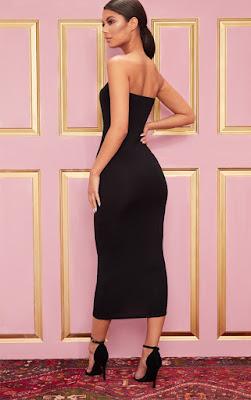 Basic Black Bandeau Midaxi Dress back side