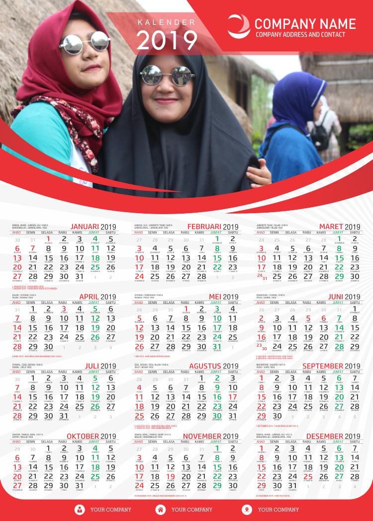 Download desain kalender 2019 premium, desain kalender sekolah 2019, desain kalender pondok ...