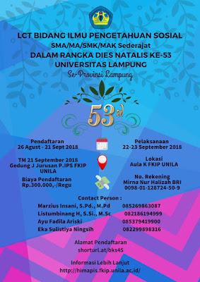 Peringati Dies Natalis ke-53, Unila Gelar LCT Bidang IPS Tingakat SMA Sederajat Se-Provinsi Lampung