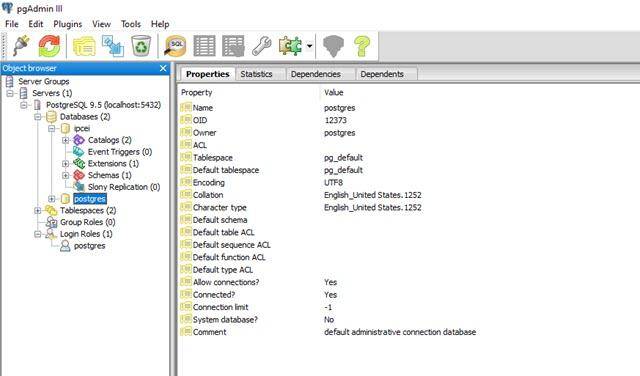 database psql pannello amministrazione