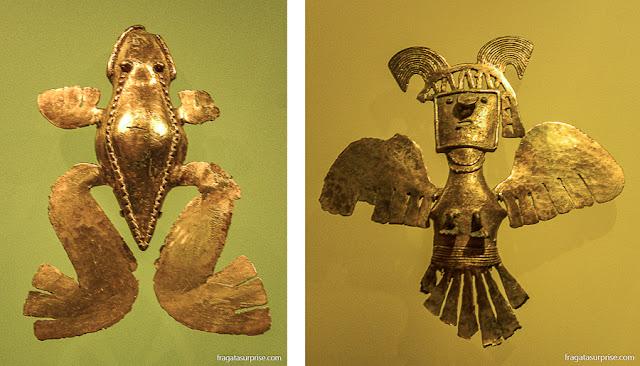 Peças do acervo do Museu do Ouro de Bogotá