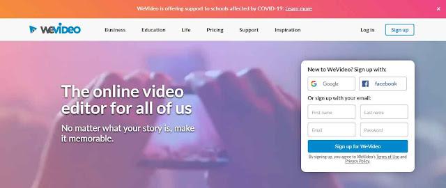 WeVideo sebagai salah satu software video editor online yang bisa sobat coba, dari segi tampilan mungkin lebih mirip dengan Movie Maker versi Desktop ya sobat