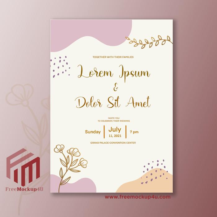 Minimalist Wedding Invitation With Lineart Gold Flower