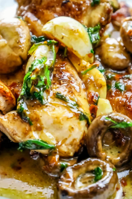 One Pot Garlic Butter Chicken Thighs and Mushrooms