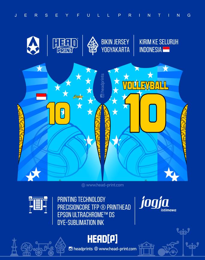Blue Jersey Voly Volley Contoh Desain Jersey Voly - Badminton Jersey - Futsal Jersey - Headprint Jogja Yogyakarta