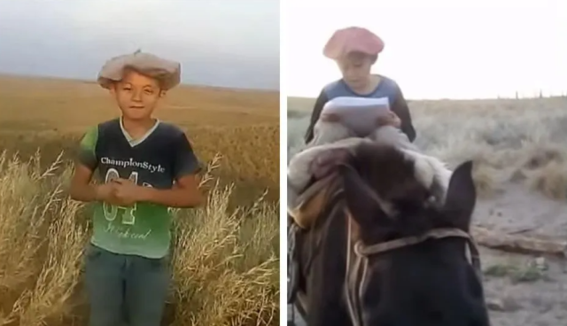 Niño argentino sube un cerro a caballo todos los días para tener Internet y ver clases (VIDEO)