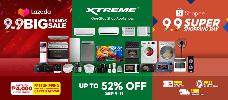 XTREME participates in 9.9 Sale in Shopee and Lazada, offering up to 52 percent discount