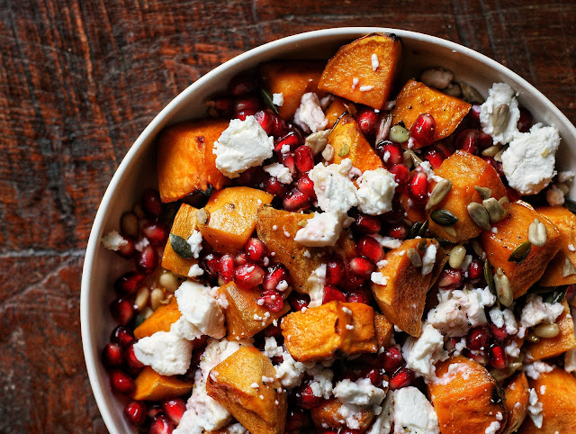 Sweet Potato, Pomegranate and Goat Cheese Salad