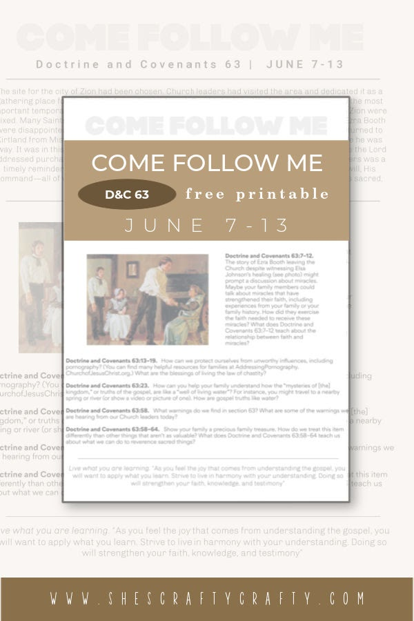 Come Follow Me Weekly Printable June 7 Pinterest Pin.