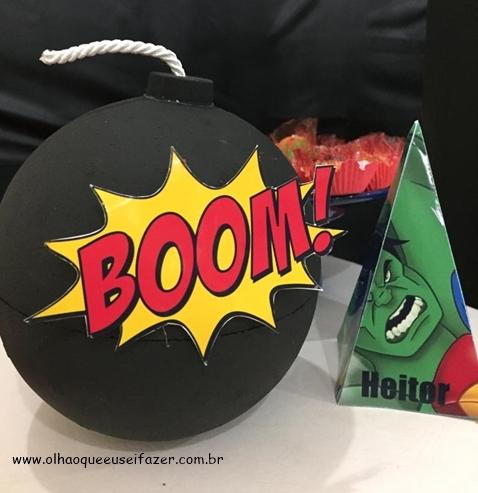 como fazer uma bomba de isopor - festa Os Vingadores