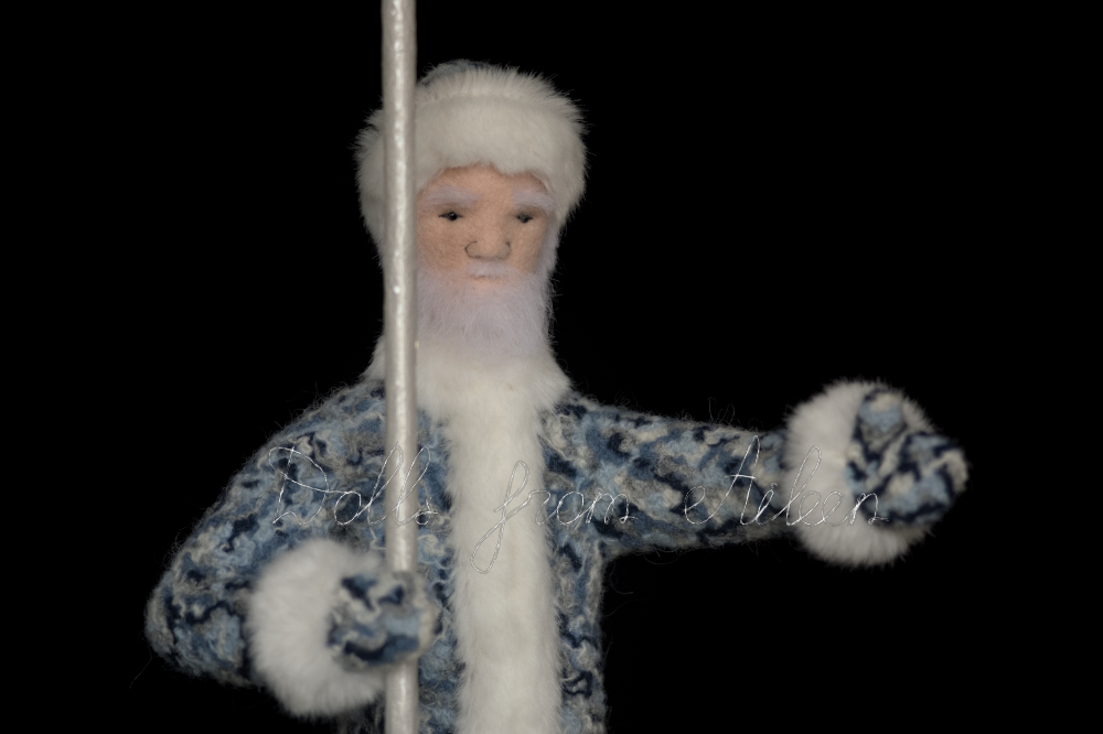 OOAK needle felted Father Frost doll, artistic view