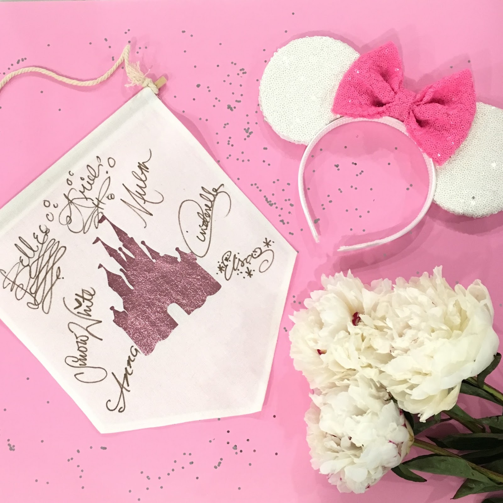 DIY Disney Princess Autographs Canvas Hanging Wall Banner by popular lifestyle blogger Celebration Stylist
