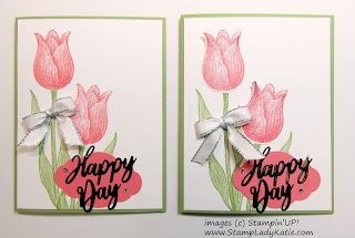 Card made with Stampin'UP!'s Timeless Tulips stampe set and punch and Word Wishes Dies