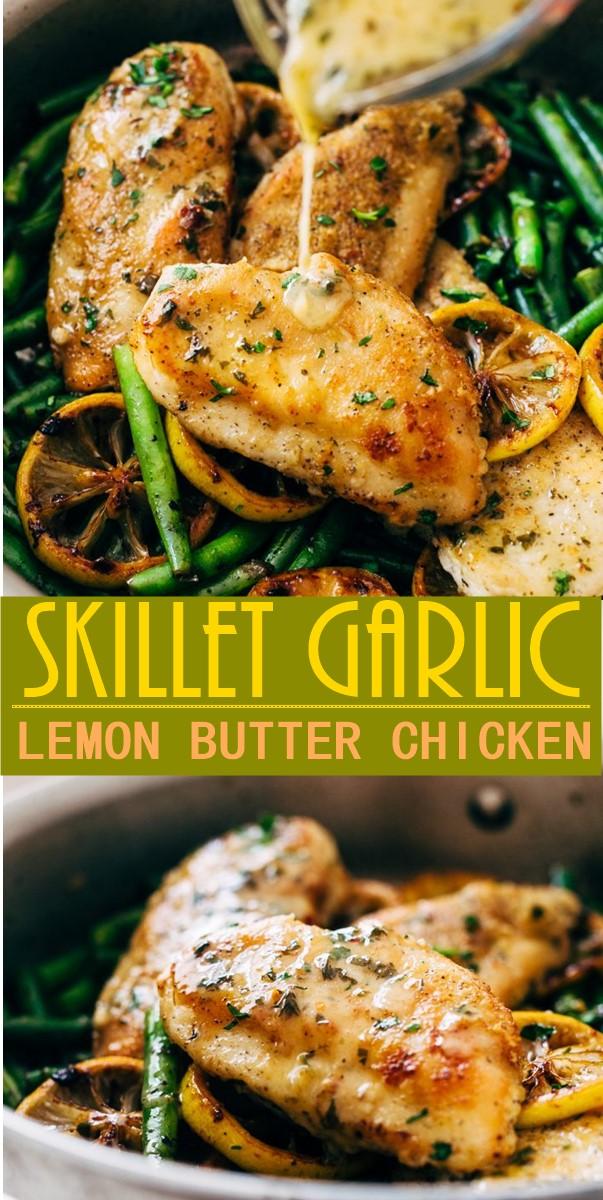 SKILLET GARLIC LEMON BUTTER CHICKEN #chickenrecipes